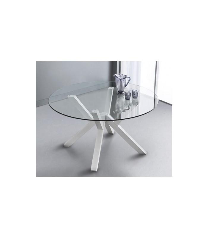 Tavolo Cristallo Tondo.Tavolo 645 Teorema Piano In Cristallo Rotondo