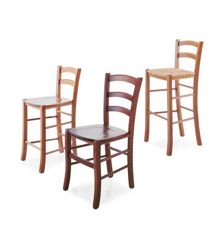 sgabello paesana in legno e sedile paglia